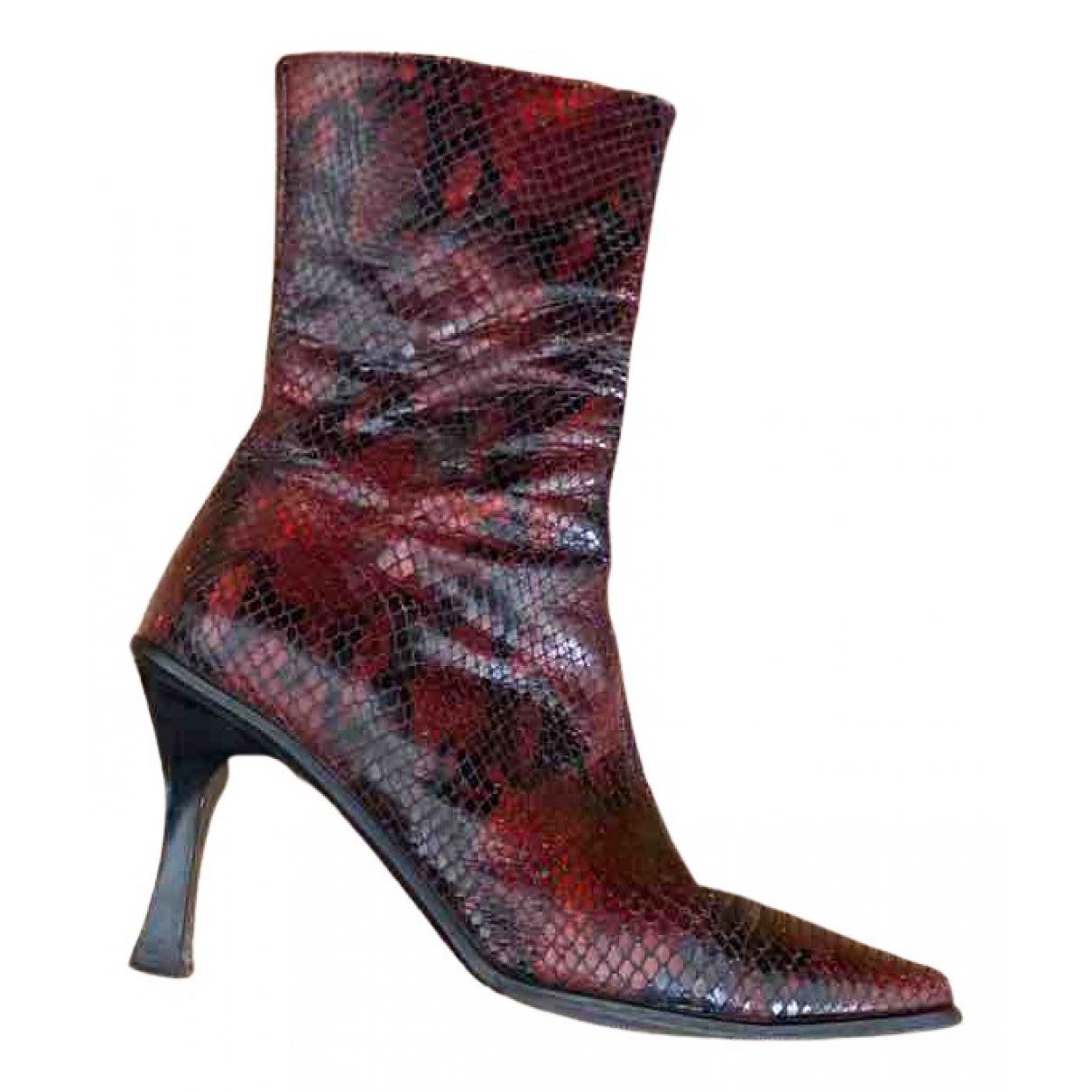 - Boots   pour femme en cuir - rouge
