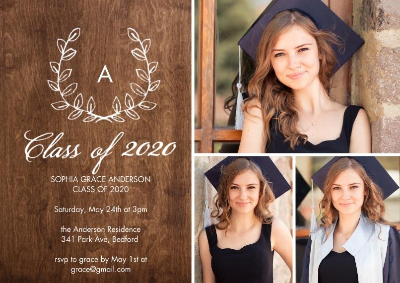 2020 Graduation Invitations 5x7 Cards, Premium Cardstock 120lb with Elegant Corners, Card & Stationery -Grad 2020 Initial by Tumbalina
