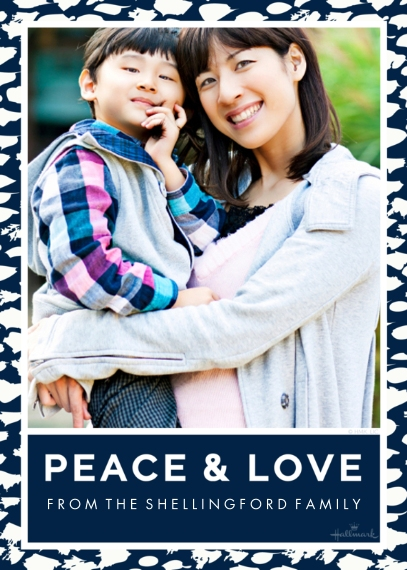 Holiday Photo Cards 5x7 Cards, Premium Cardstock 120lb with Scalloped Corners, Card & Stationery -Peace & Love Border