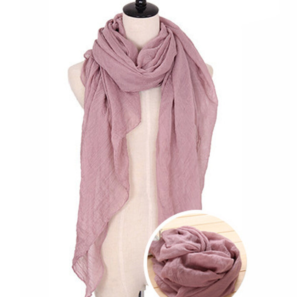 70*80CM Women Linen And Cotton Solid Color Scarf Multi-color Light And Breathable