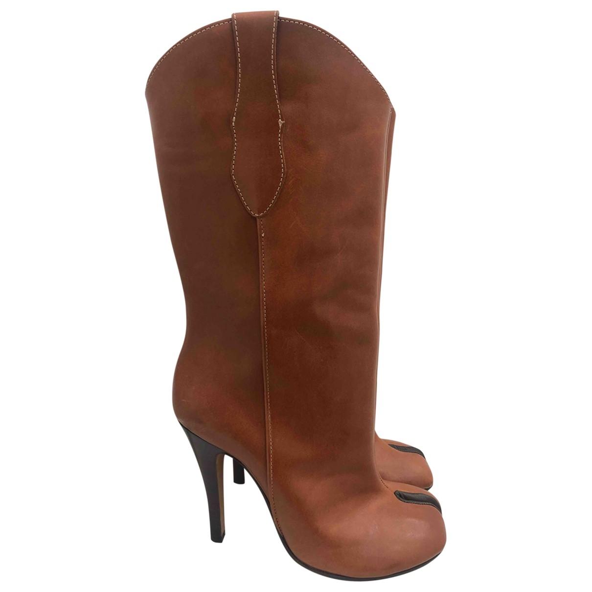 Maison Martin Margiela Tabi Brown Leather Boots for Women 40 EU