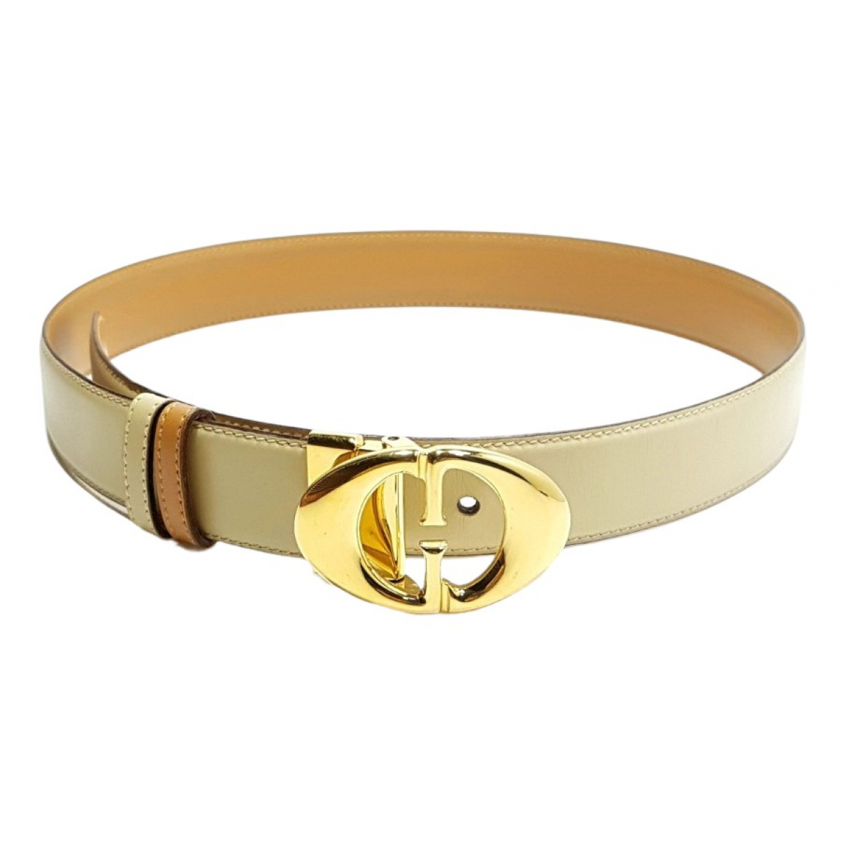 Gucci Interlocking Buckle Beige Leather belt for Women 27 Inches