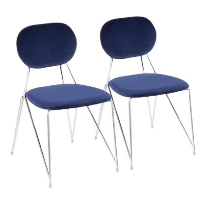 Gwen Collection CH-GWENBU2 Set of 2 Chair with Velvet Fabric Upholstery  Contemporary Style and Metal Frame in Blue