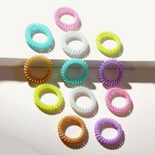 12pcs Colorful Telephone Wire Hair Tie