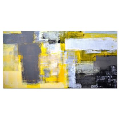 PT6269-40-20 Grey And Yellow Blur Abstract - Abstract Canvas Art Print -