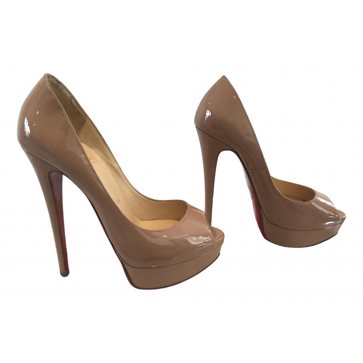 Christian Louboutin Lady Peep Beige Patent leather Heels for Women 37 EU