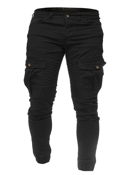 Milanoo Men\s Trousers Natural Waist Straight Black Men\\s Pants
