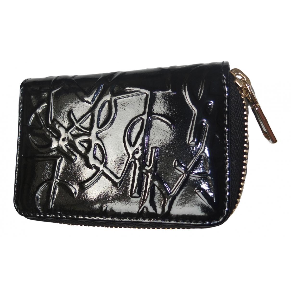 Yves Saint Laurent - Portefeuille   pour femme en cuir verni - noir