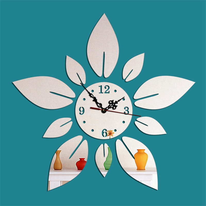 3 Color Simple Design Creative Flower Pattern 3D Acrylic DIY Specular Mute Wall Clock