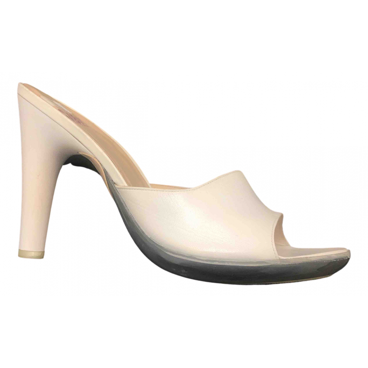 Charles Jourdan - Sabots   pour femme en cuir - blanc