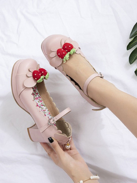 Milanoo Sweet Lolita Footwear Strawberry PU Leather Chunky Heel Lolita Shoes