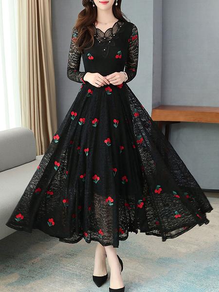 Milanoo Vestido largo rojo  Moda Mujer con manga larga de poliester Vestidos de encaje con estampado en capas con cuello en V estilo clasico Primavera