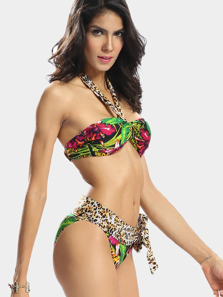 Yoins Tropical Print Halter Bandeau Bikini Set