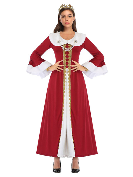 Milanoo Women\'s Carnival Costumes Red Two-Tone Elegant Layered Polyester Carnival Queen Costume Holidays Dress