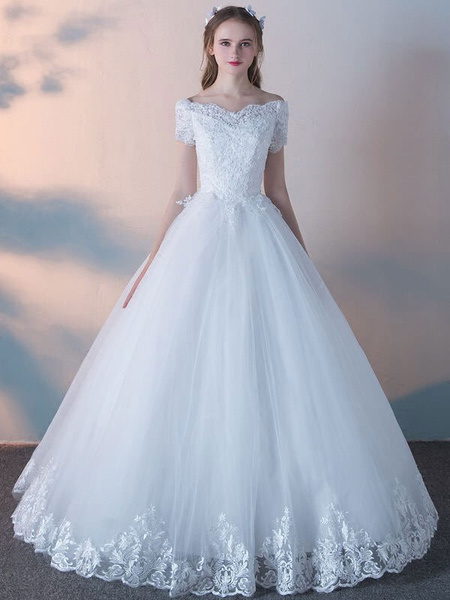 Milanoo White Wedding Dresses Princess Ball Gowns Lace Short Sleeve Beaded Floor Length Bridal Dress