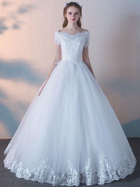 Milanoo Vestidos de novia blanco Princesa Ball Gowns manga corta de encaje con cuentas piso vestido de novia