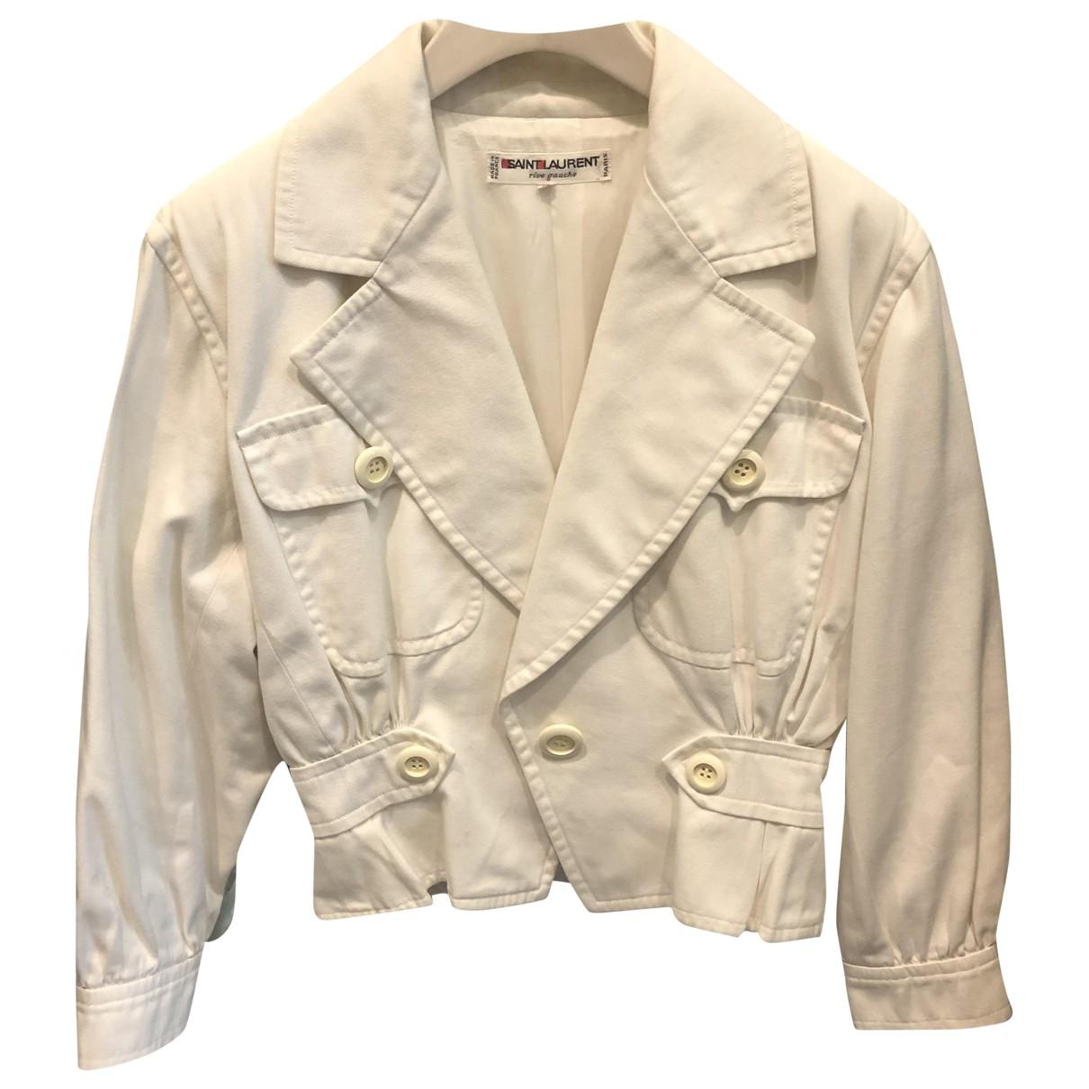 Saint Laurent - Veste   pour femme en coton - blanc