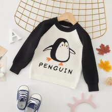 Baby Boy Penguin Pattern Contrast Raglan Sleeve Sweater