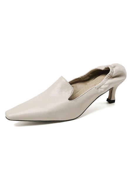 Milanoo Tacones medios-bajos para mujer Zapatos vintage Tacon cuadrado con punta cuadrada Tacones negros