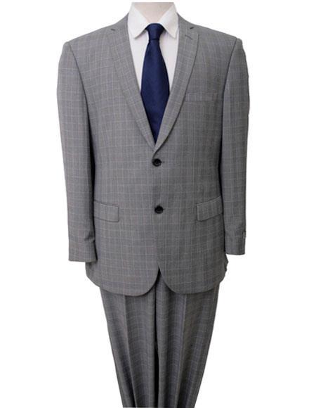 Men's Windowpane Pattern Single Breasted Two Piece Light Gray Suit