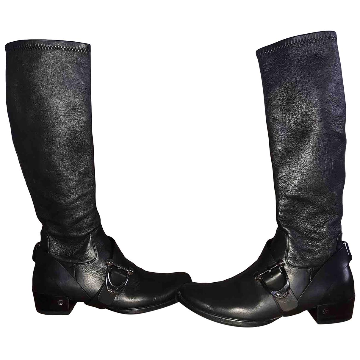 Celine - Bottes Folco pour femme en cuir - noir