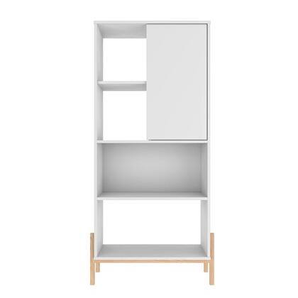 308AMC157 Bowery Bookcase with 5 Shelves in White and