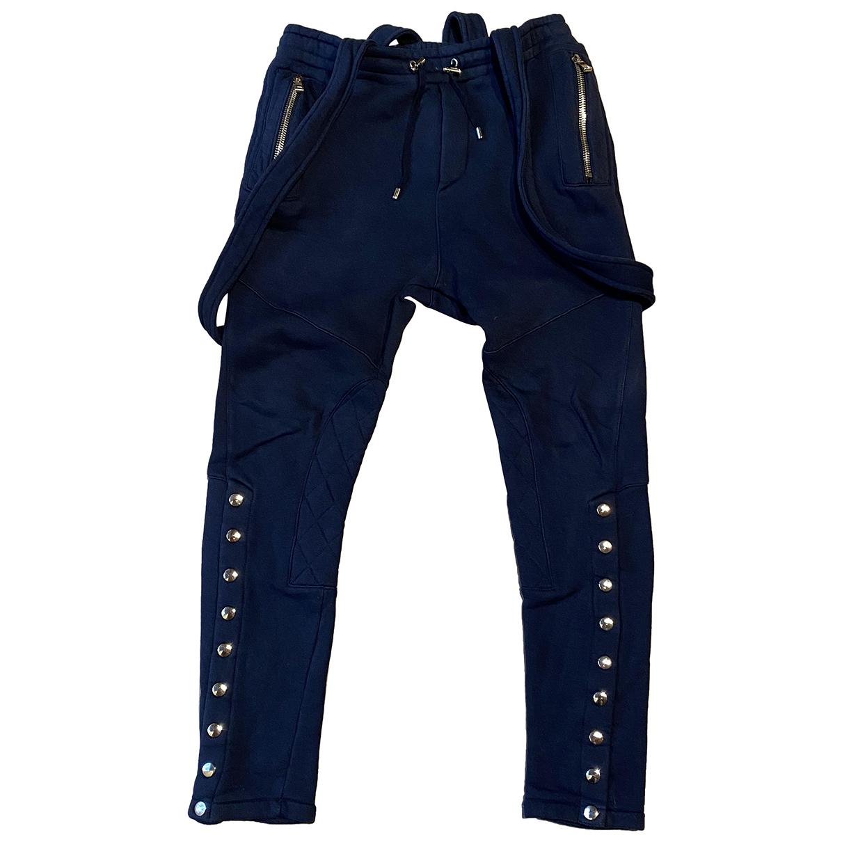 Balmain N Blue Cotton Trousers for Men M International