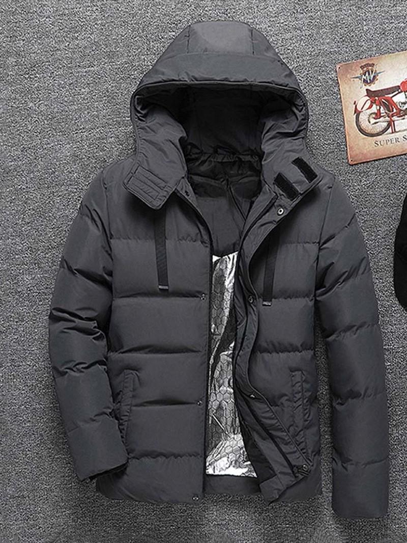 Ericdress Plain Hooded Mid-Length Zipper Casual Men's Down Jacket