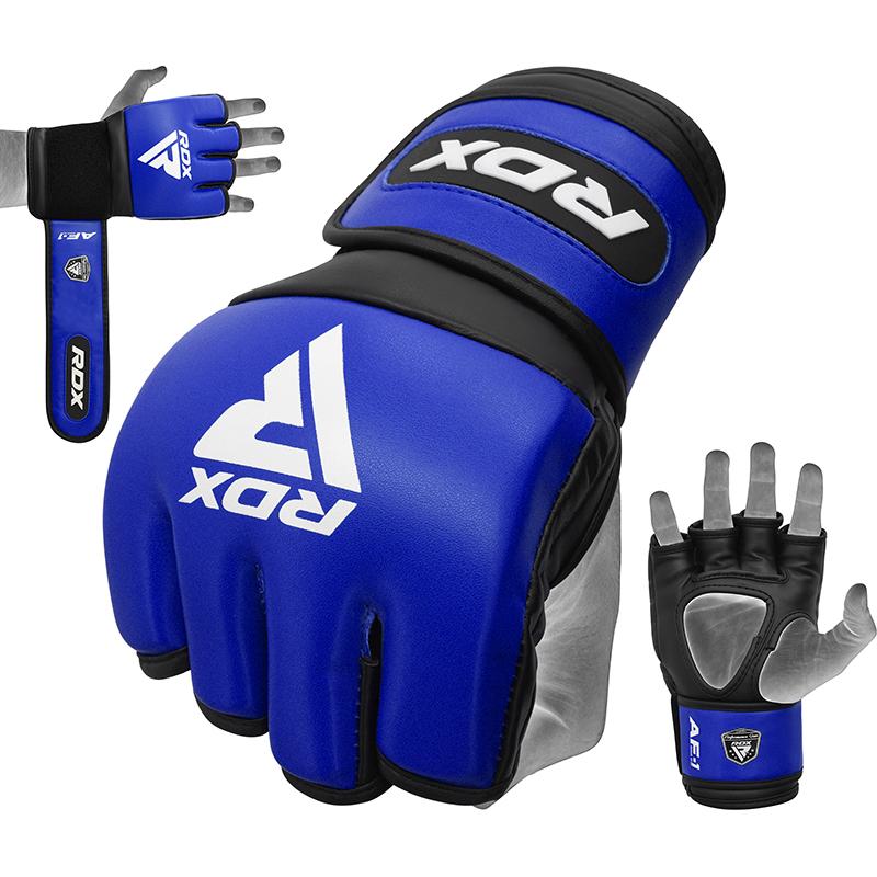 RDX RF1 4oz Gants de Grappling et MMA L Bleu Cuir PU