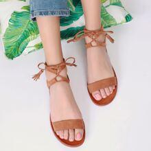 Strappy Fake Suede Self-Tie Tassel Sandals