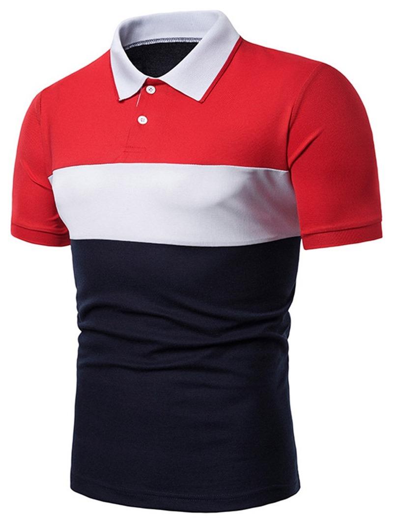 Ericdress Color Block Mens Casual Polo Shirt