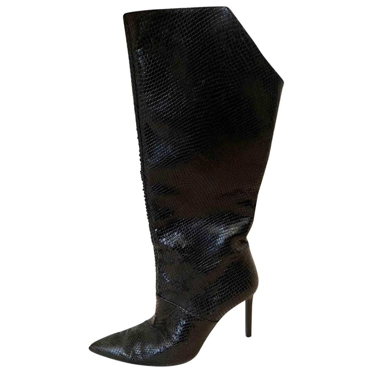 Zara - Bottes   pour femme en serpent deau - noir