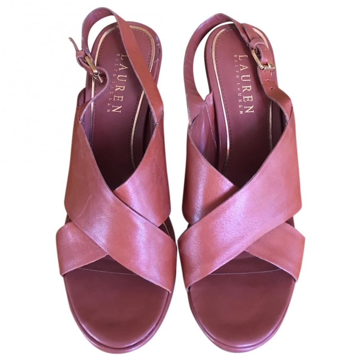 Polo Ralph Lauren - Sandales   pour femme en cuir - marron