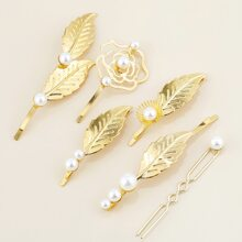 6pcs Leaf Decor Hair Clip