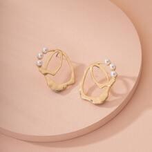Pendientes de tachuela con perla artificial con abertura