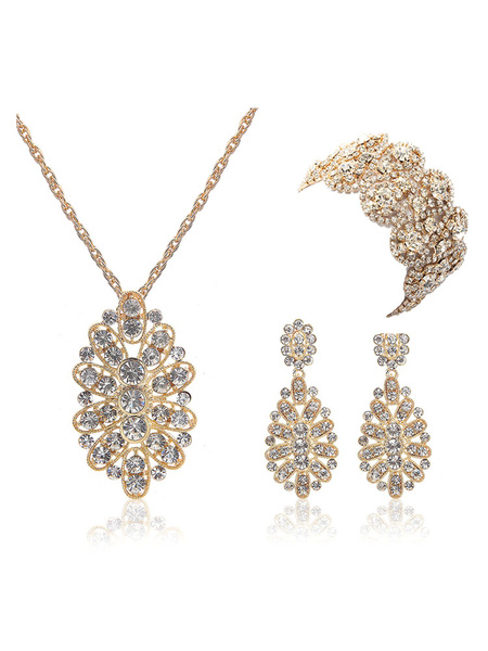 Milanoo Bridal Jewelry Gold Rhinestone Floral Pendant Necklace With Dangle Earring And Wide Bracelet