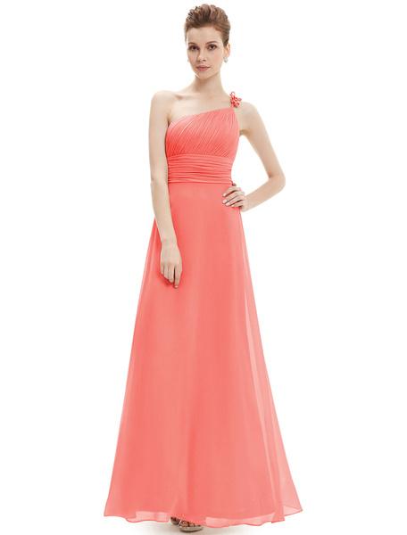 Milanoo Vestido de Dama de Honor Largo con escote a un solo hombro hasta el suelo Sin espaldo con pliegues sin mangas de linea A