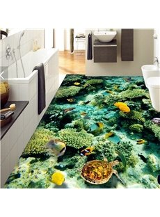 3D Colorful Fish PVC Non-slip Waterproof Eco-friendly Self-Adhesive Floor Murals