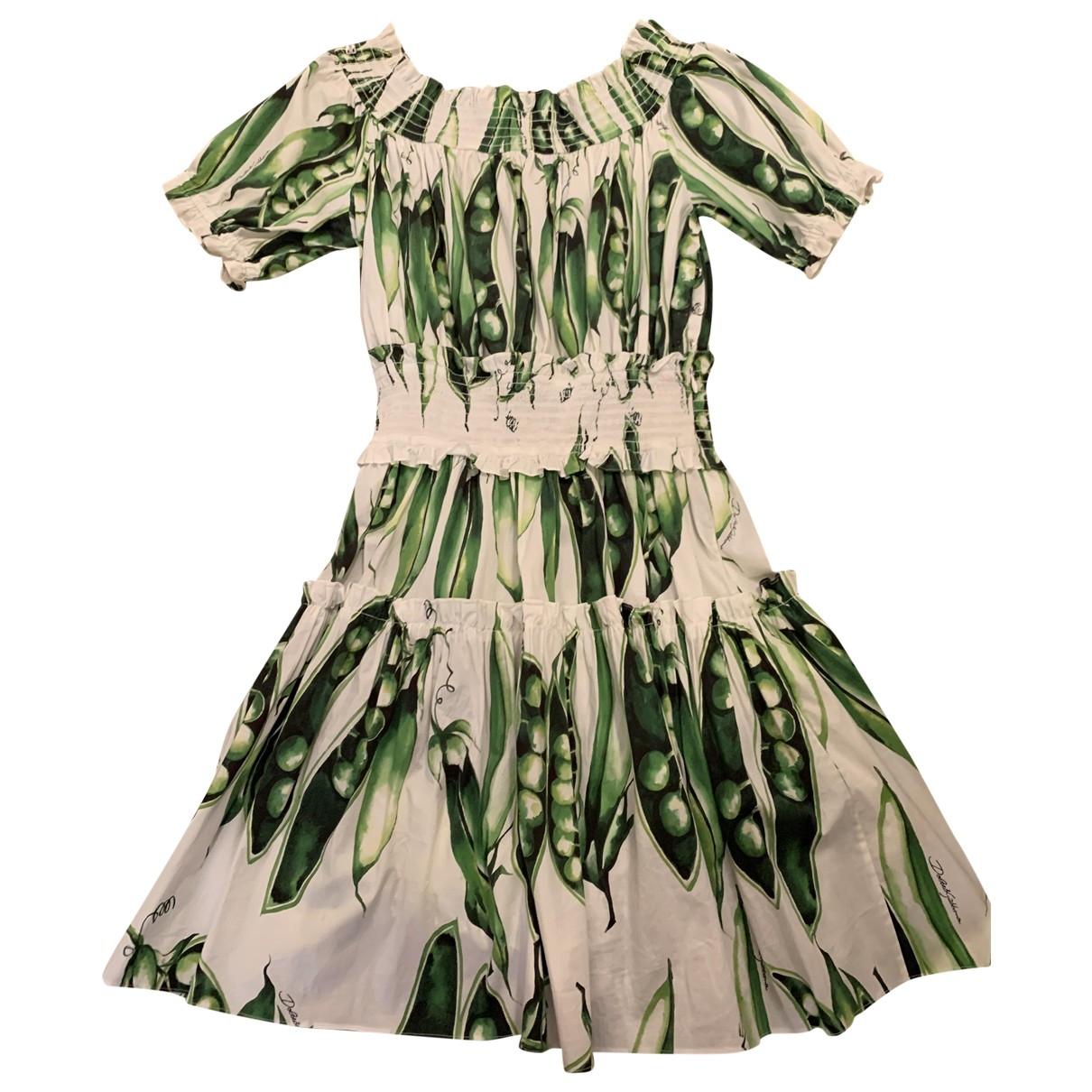 Dolce & Gabbana \N Kleid in  Weiss Baumwolle