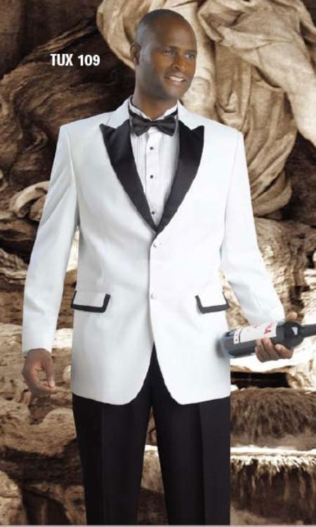 Hight Quality 2 Button Tuxedos White / Black Suit