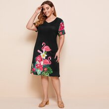 Plus Flamingo & Floral Print V-neck Tee Dress