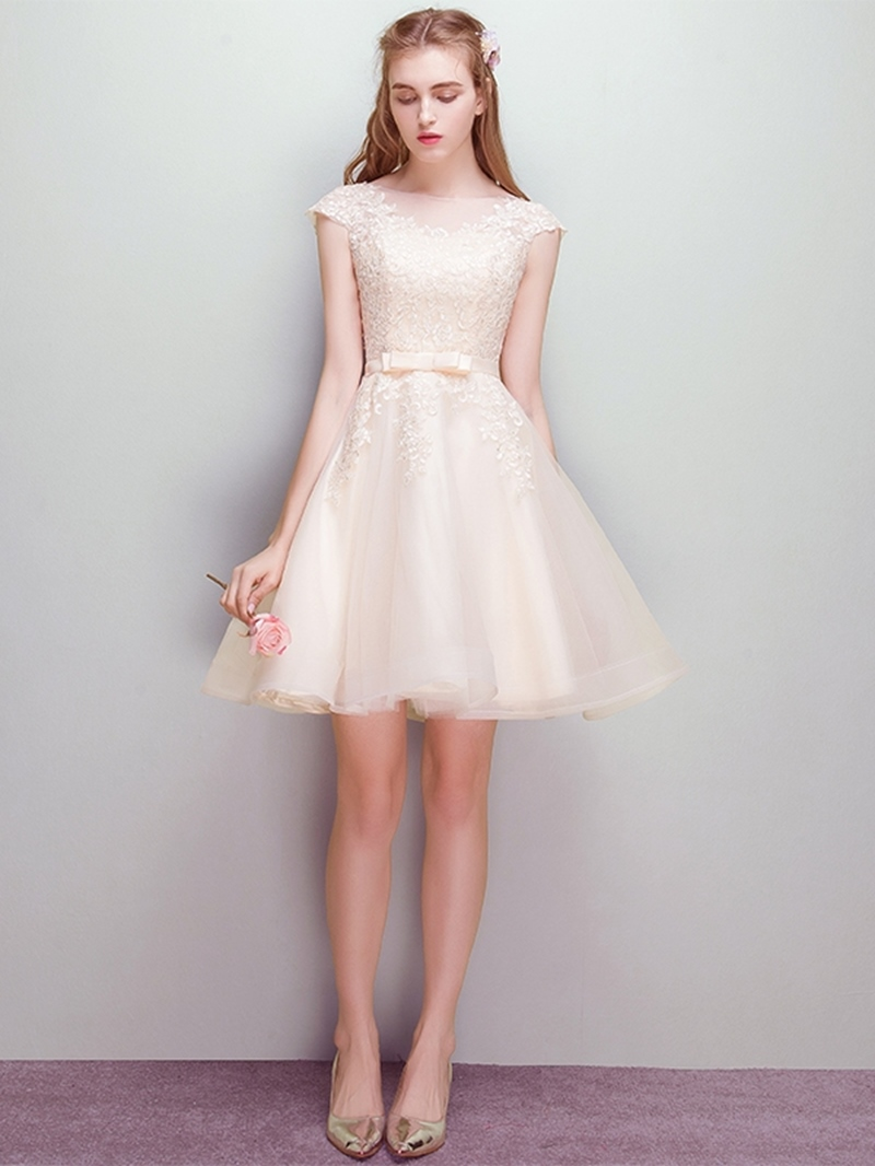Ericdress A-Line Cap Sleeves Scoop Short Homecoming Dress
