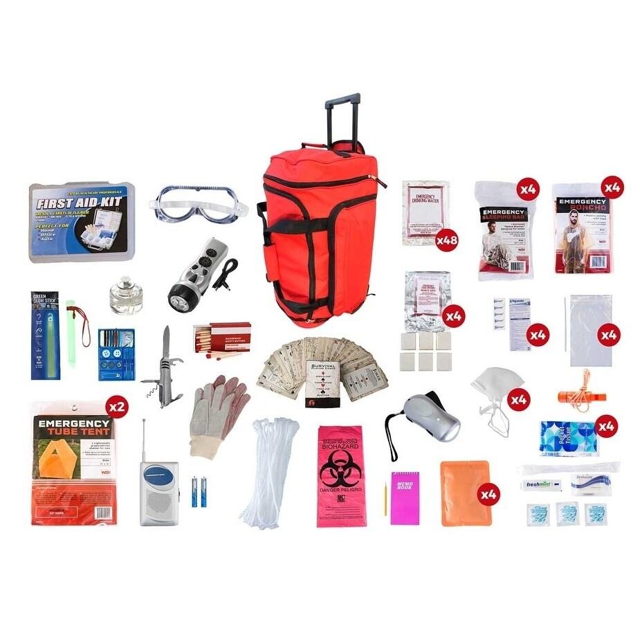 4 Person Elite Survival Kit 72 plus Hours - RED Wheel Bag