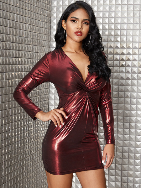YOINS Burgundy Metallic Shine Twist Deep V Neck Dress