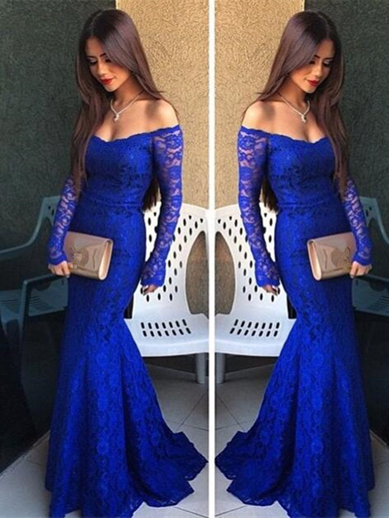 Ericdress Sexy Off The Shoulder Long Sleeve Lace Mermaid Evening Dress