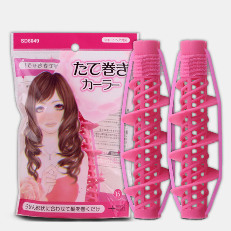 2Pcs Hair Styling Tools Hair Care Natural Big Wave Curls Rollers Curlers Curling Styling Tool for Girls Ladies Spiral Cu