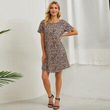 Tunika Kleid mit Leopard Muster