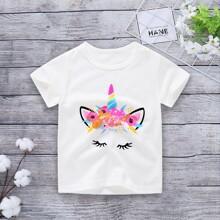 Toddler Girls Unicorn Print Tee
