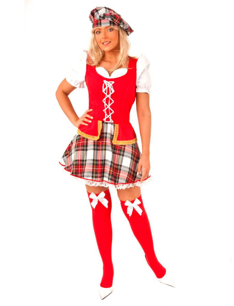 Damen-Kostuem Schottin Dame rot/weiss Grosse: 42