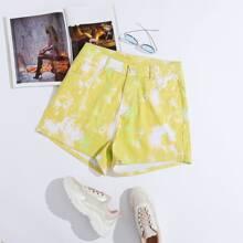 Denim Shorts mit Batik und Knopfen